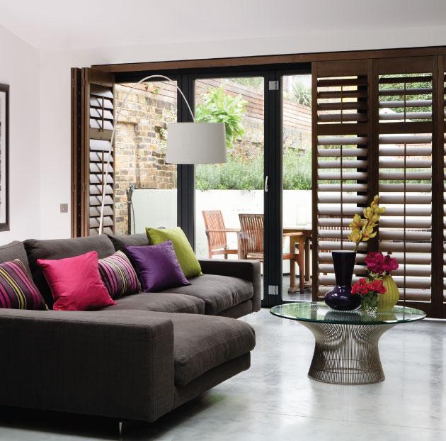 Dark Wood Internal shutters fitted