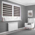 Grey day and night blinds
