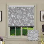 Grey patterned roller blinds